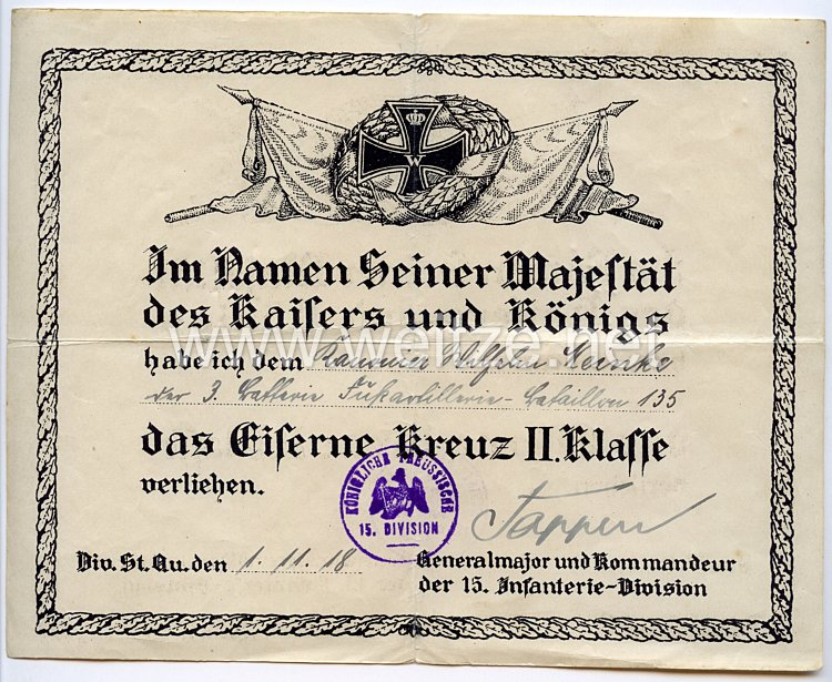 1. Weltkrieg - Originalunterschrift des Pour le Mérite mit Eichenlaub Trägers Generalmajor Gerhard Tappen