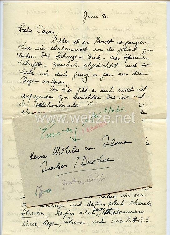 Legion Condor - originaler Feldpostbrief an Oberst Ritter von Thoma - Kommandeur der Panzertruppen Imker/Drohne