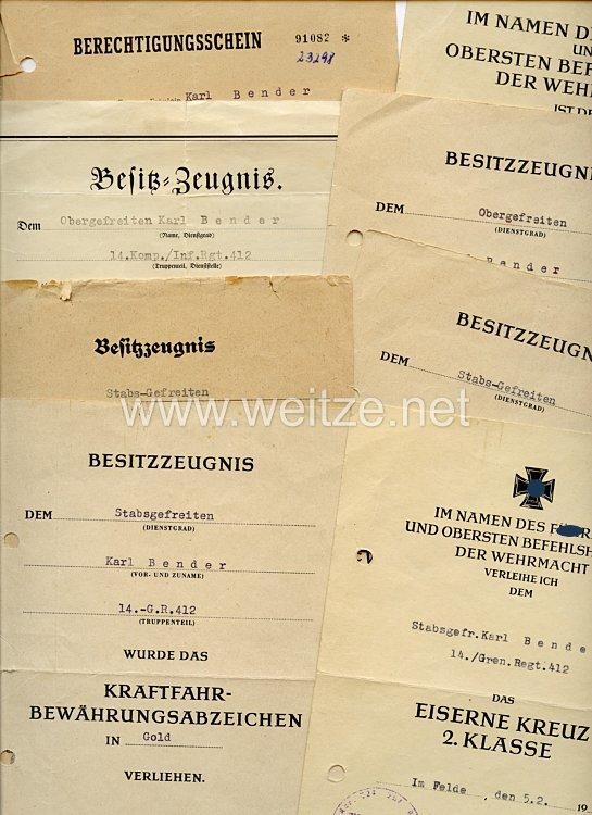 Heer - Urkundengruppe für einen späteren Stabsgefreiten der 14./Gren.-Rgt.412