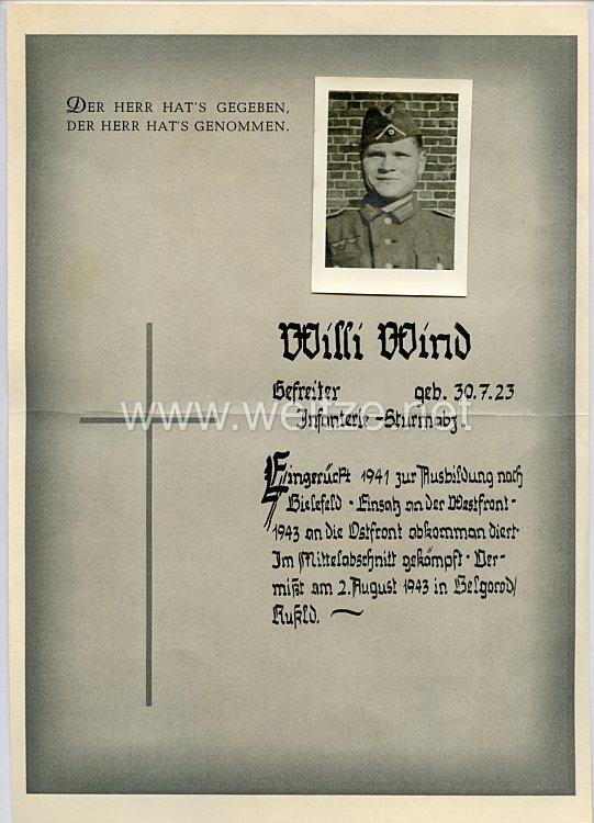 Heer - Gedenkblatt für einen Gefreiten des Jahrgangs 1923, der seit dem 2.8.1943 in Belgorod/Rußland vermisst ist