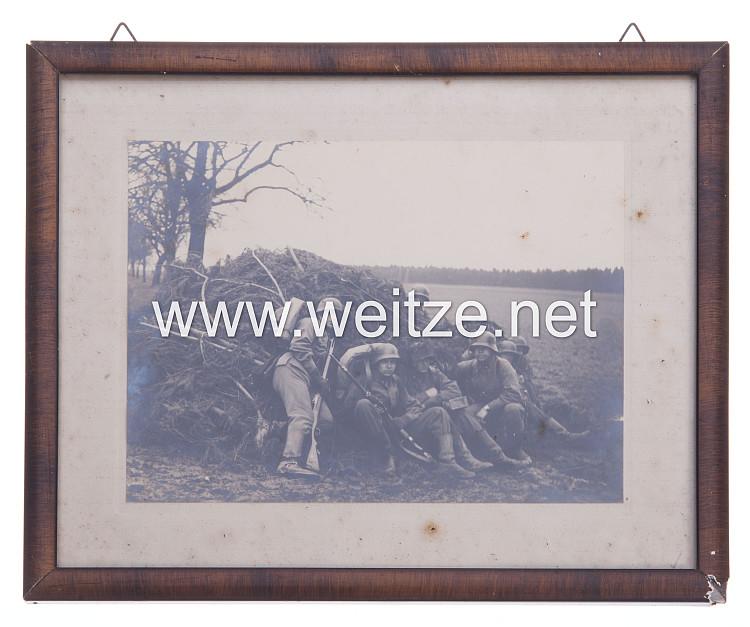 Gerahmtes Foto, Angehörige der SS Verfügungstruppe während einer Übung