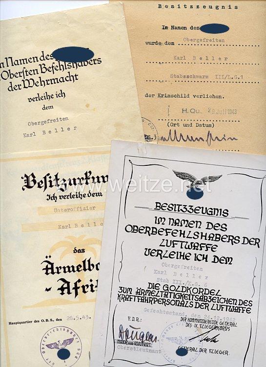 Luftwaffe - Urkundengruppe für einen späteren Unteroffizier im Stabsschwarm III./Lehrgeschwader 1