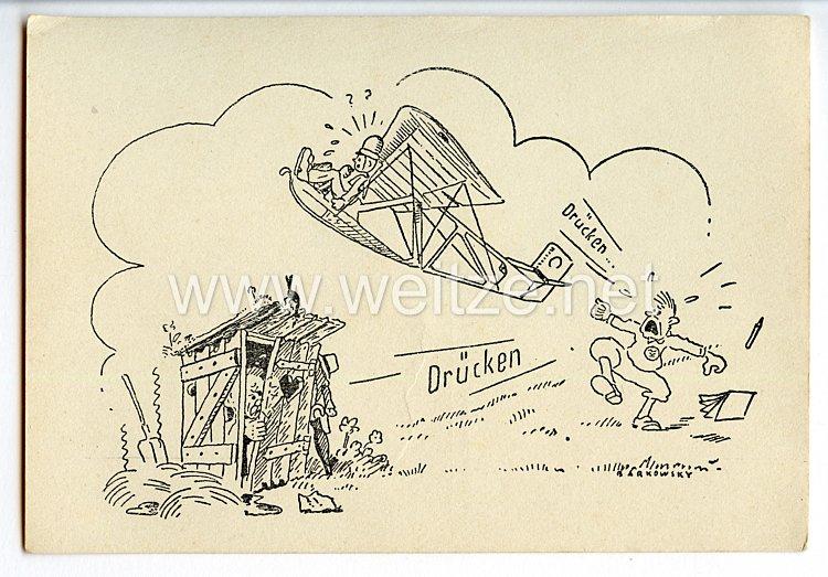 """Deutscher Luftsport-Verband ( DLV ) - Propaganda-Postkarte - """" Drücken ... Drücken """""""