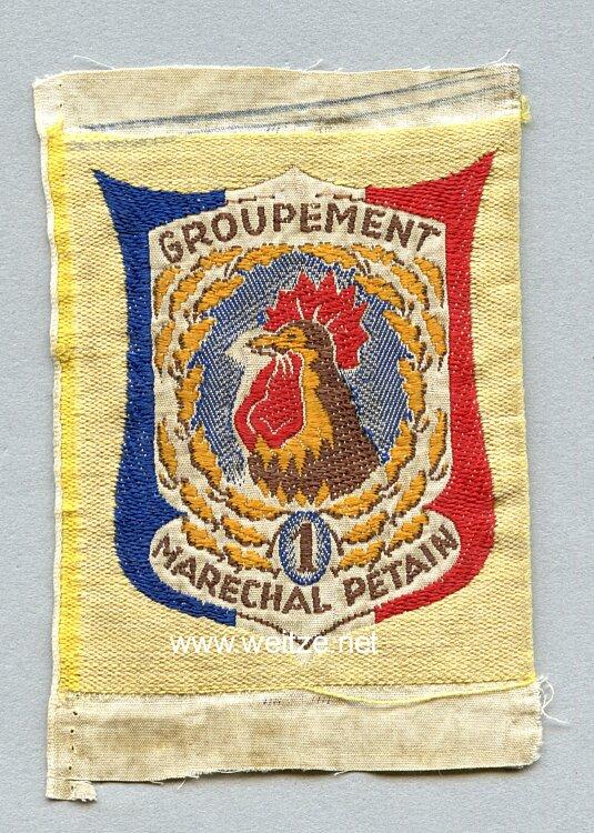 """Frankreich 2.Weltkrieg Vichy Regierung, Stoffabzeichen für die Jugendbewegung, """"Chantier de Jeunesse Groupement 1 Maréchal Pétain"""""""