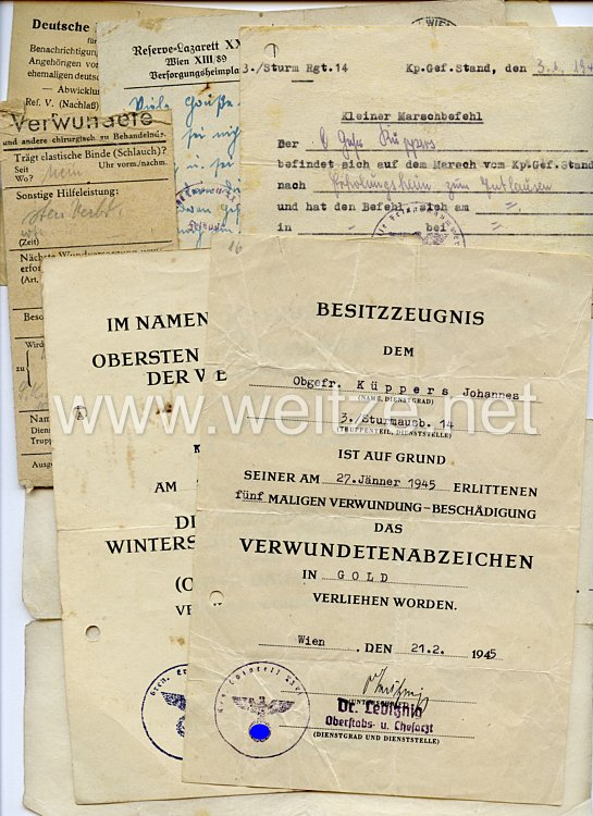 Heer - Dokumentennachlass eines späteren Obergefreiten der 3./Sturm-Rgt.14