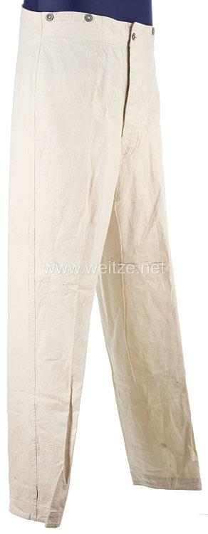 Erster Weltkrieg weiße lange Drillichhose (Arbeitshose) für Mannschaften