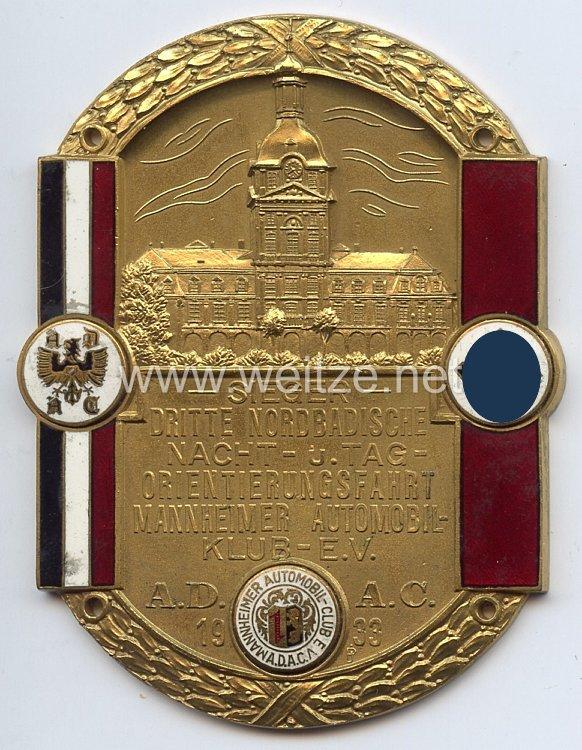 III. Reich - ADAC ( Allgemeiner Deutscher Automobil-Club ) - nichttragbare Siegerplakette -