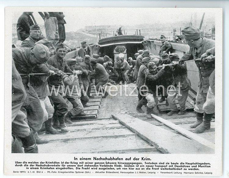 """III. Reich - gedrucktes Pressefoto """" In einem Nachschubhafen auf der Krim """" 6.1.1943"""