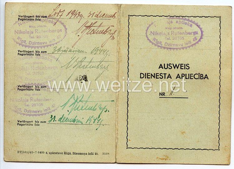 III. Reich / Lettland - Nikolaja Aptieka ( Apotheke ) - Dienst Ausweis für eine Frau