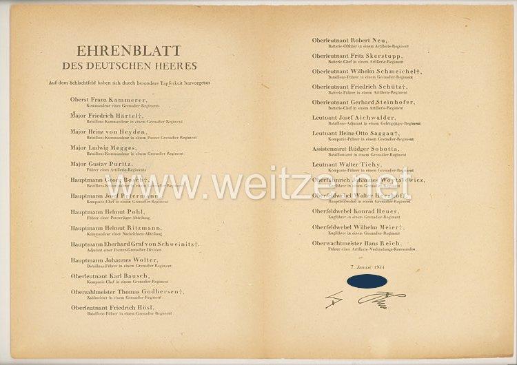 Ehrenblatt des deutschen Heeres - Ausgabe vom 7. Januar 1944