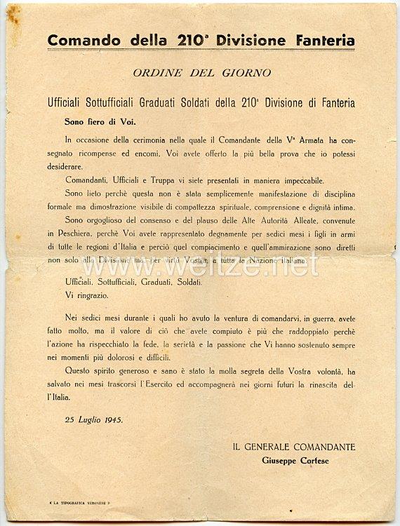 Italien -210. Infanterie-Division - 2 Dokumente nach Beendigung des 2. Weltkrieges