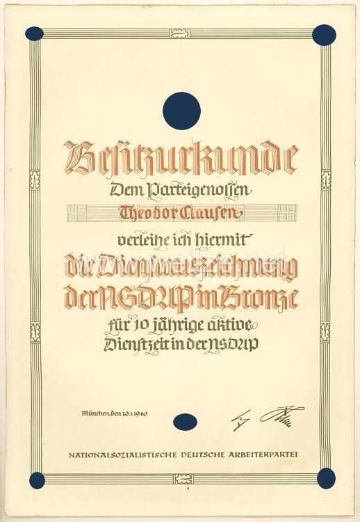 Waffen-SS - Besitzurkunde für die Dienstauszeichnung der NSDAP in Bronze für den späteren SS-Hauptsturmführer Theodor Clausen