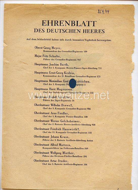Ehrenblatt des deutschen Heeres - Ausgabe vom 25. September 1944