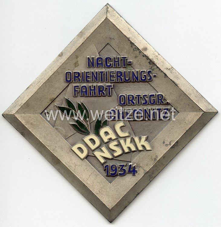 """NSKK / DDAC - nichttragbare Teilnehmerplakette - """" Nachtorientierungsfahrt Ortsgruppe Chemnitz NSKK DDAC 1934 """""""