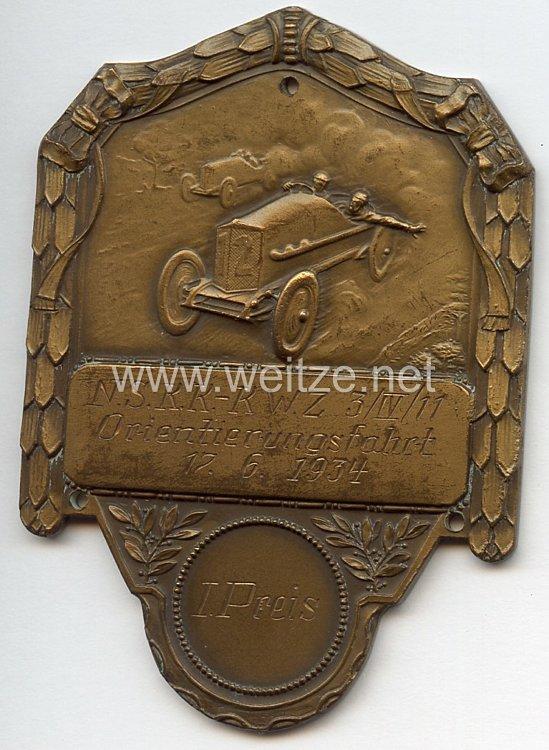 """NSKK - nichttragbare Siegerplakette - """" N.S.K.K.-K.W.Z. 3/IV/11 Orientierungsfahrt 12.6.1934 - 1. Preis """""""
