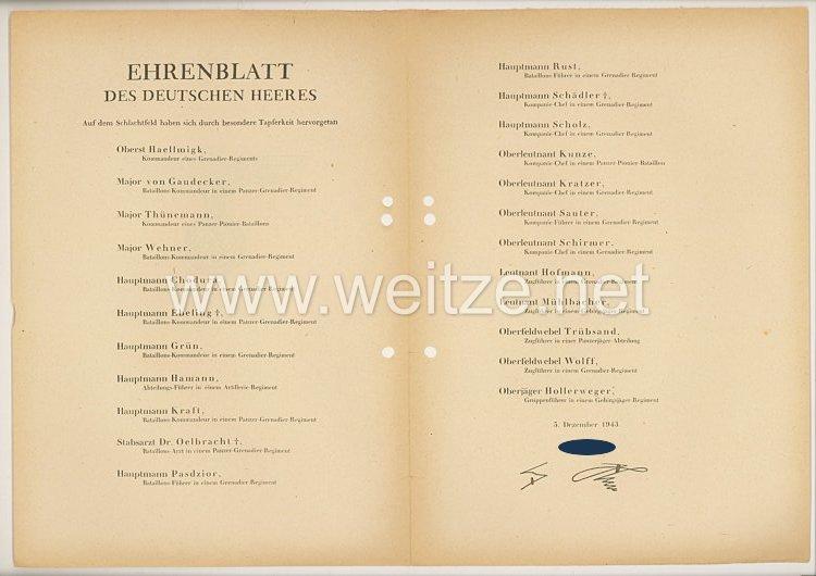 Ehrenblatt des deutschen Heeres - Ausgabe vom 5. Dezember 1943