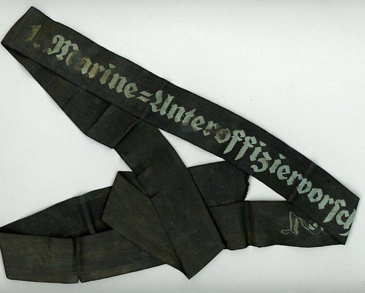 """Kriegsmarine Mützenband """"1. Marine-Unteroffiziervorschule 1."""""""