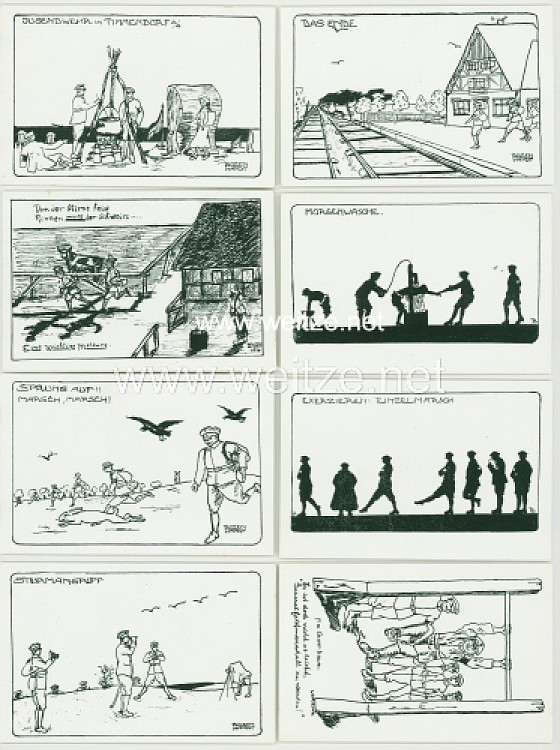 """Sammlung von 8 Postkarten """" Jugendwehr in Timmendorf """""""