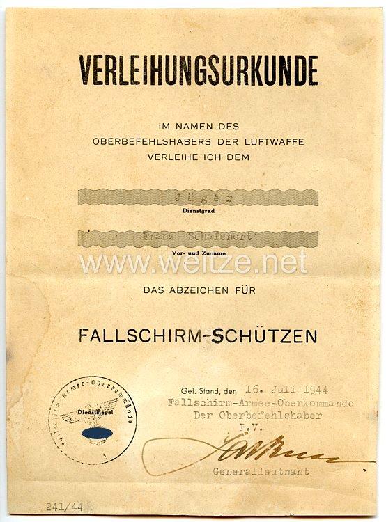 Luftwaffe - Verleihungsurkunde für das Abzeichen für Fallschirm-Schützen