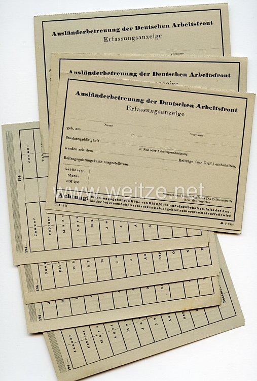 III. Reich - Ausländerbetreuung der Deutschen Arbeitsfront - Erfassungsanzeige und Beitragsquittungskarte