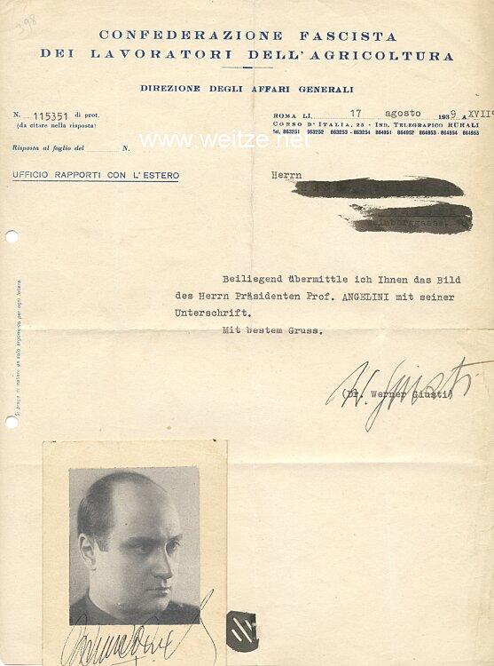 Italien 2. Weltkrieg - Originalunterschrift des Leiters der Confederazione Fascista die Lavoratori dell Agricoltura, Prof. Angelini