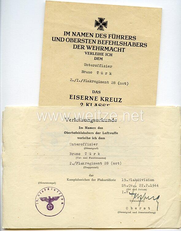Luftwaffe - Urkundenpaar für einen Unteroffizier der 2./Flakregiment 28 (mot)