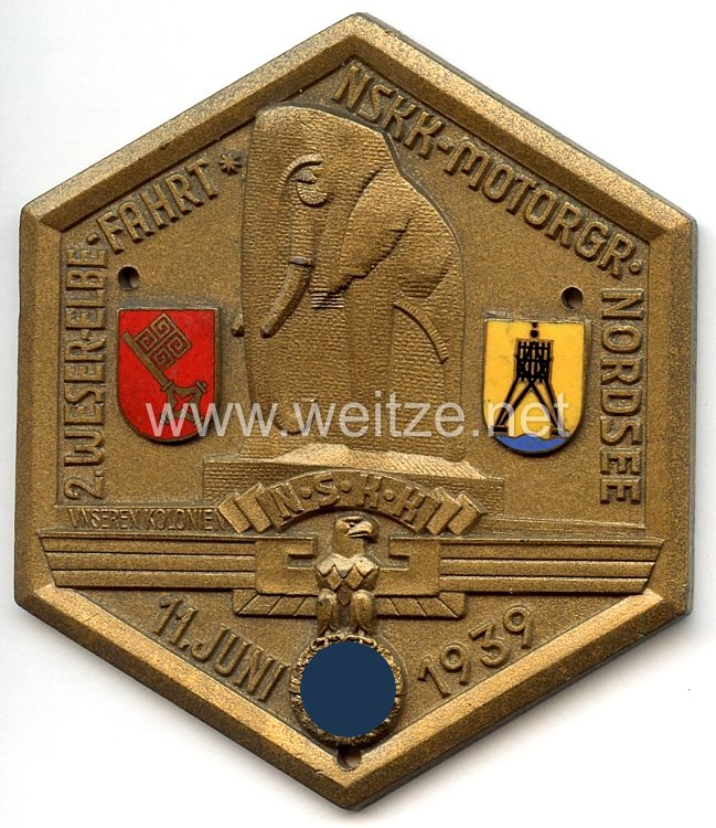 """NSKK - nichttragbare Teilnehmerplakette - """" 2. Weser-Elbe-Fahrt NSKK-Motorgr. Nordsee 11. Juni 1939 - Unseren Kolonien """""""