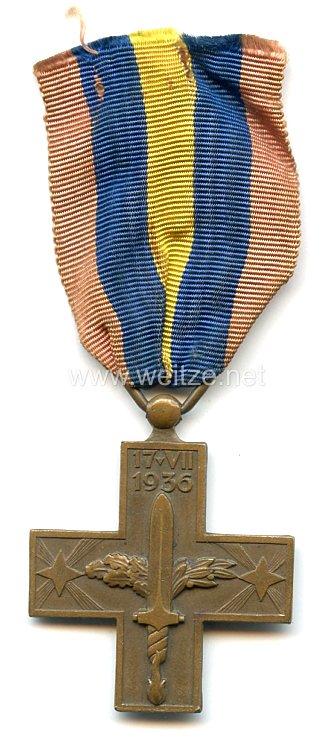 """Italien Kreuz für Kriegsfreiwillige im Spanischen Bürgerkrieg """"17.VII. 1936 - Guerra po la Unidad Nacional Espanola""""."""