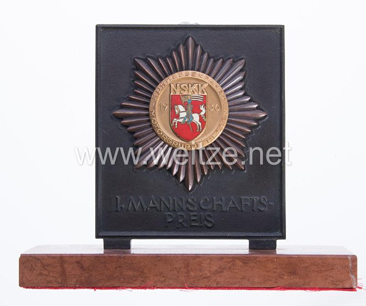 NSKK - großer nichttragbarer Siegerpreis N.S.K.K. Motorgruppe Hessen, 1936 Kurhessenfahrt 1. Mannschafts- Preis