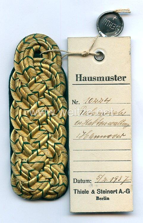 III. Reich Einzel Schulterstück eines Beamten der Haft-Verwaltung Hannover
