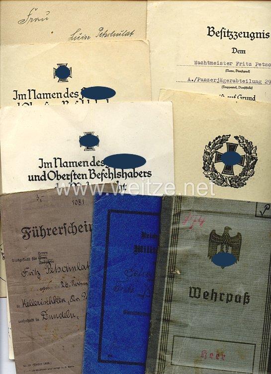 Heer - Dokumentengruppe für einen späteren Wachtmeister der A.Gen.Pz.Jg. u. Aufkl.Abt.290, der in Rußland gefallen ist