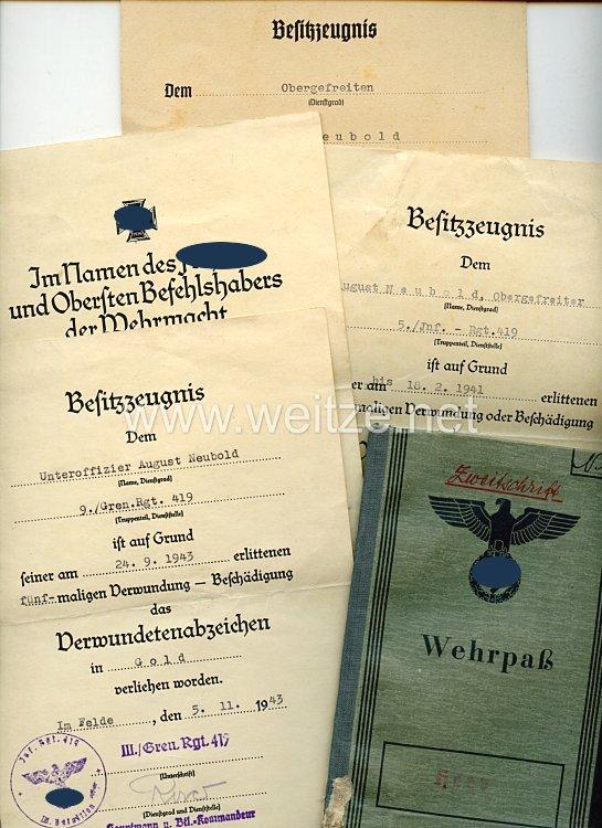 Heer - Dokumentennachlass für einen späteren Unteroffizier der 9./Gren.-Rgt.419, der in Rußland gefallen ist
