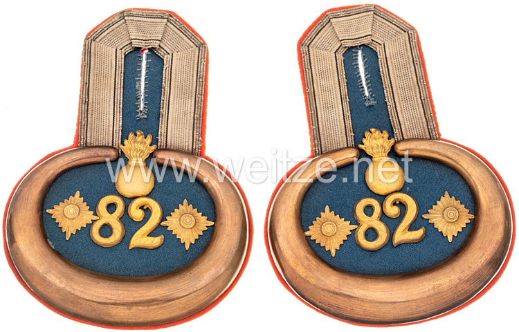 Preußen Paar Epauletten für einen Hauptmann im 2. Masurischen Feldartillerie-Regiment Nr. 82