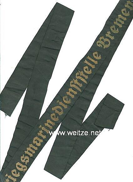 """Mützenband """"Kriegsmarinedienststelle Bremen"""""""