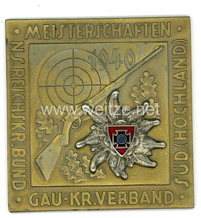 """III. Reich nichttragbare Siegerplakette """"NS Reichskriegerbund Meisterschaften Gau-Kriegerverband Süd Hochland 1940"""""""