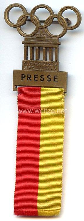 XI. Olympischen Spiele 1936 Berlin - Offizielles Teilnehmerabzeichen für einen Angehörigen der Presse