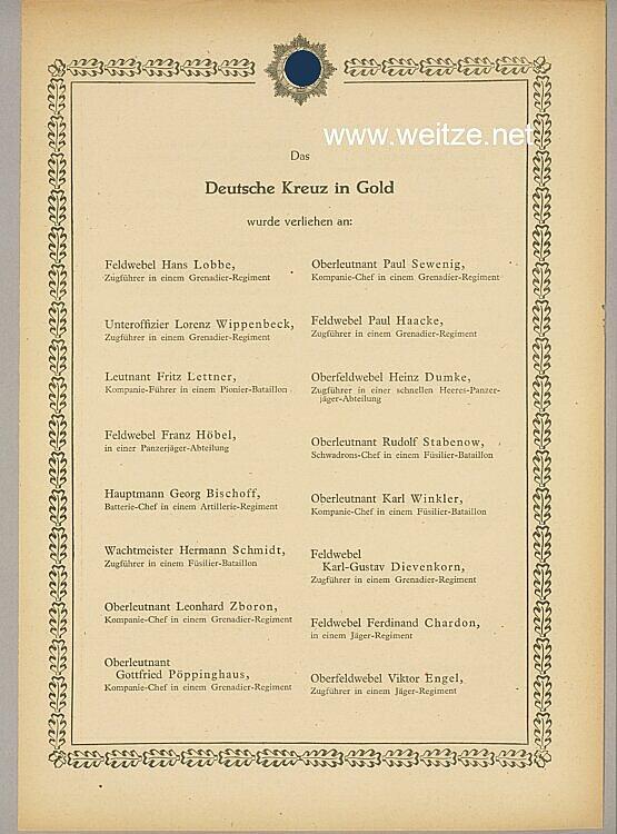 Verleihungsliste für das Deutsche Kreuz in Gold - 26. Dezember 1943