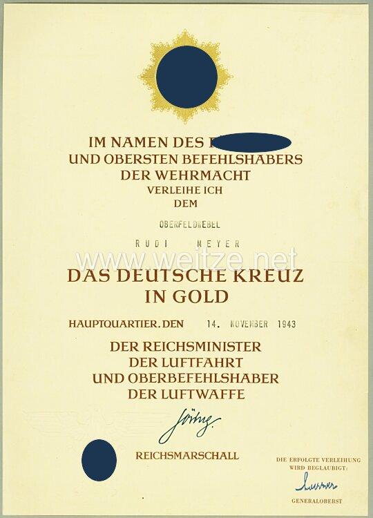 """Verleihungsurkunde für das Deutsche Kreuz in Gold für Oberfeldwebel Rudi Meyer der 9./Jagdgeschwader 51 """" Mölders """""""