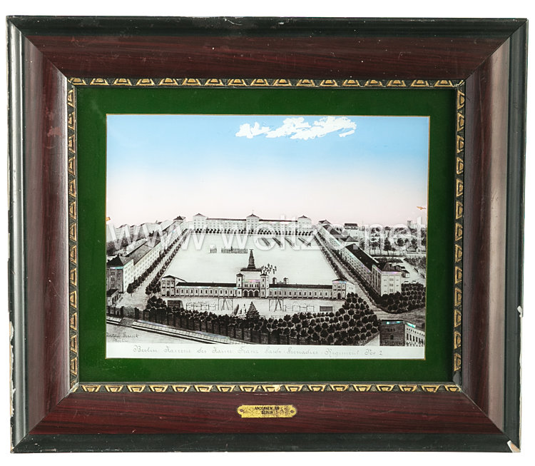 "Preußen gerahmtes Glasbild ""Berlin Kaserne des Kaiser Franz Grade-Grenadier-Regiment No. 2"""