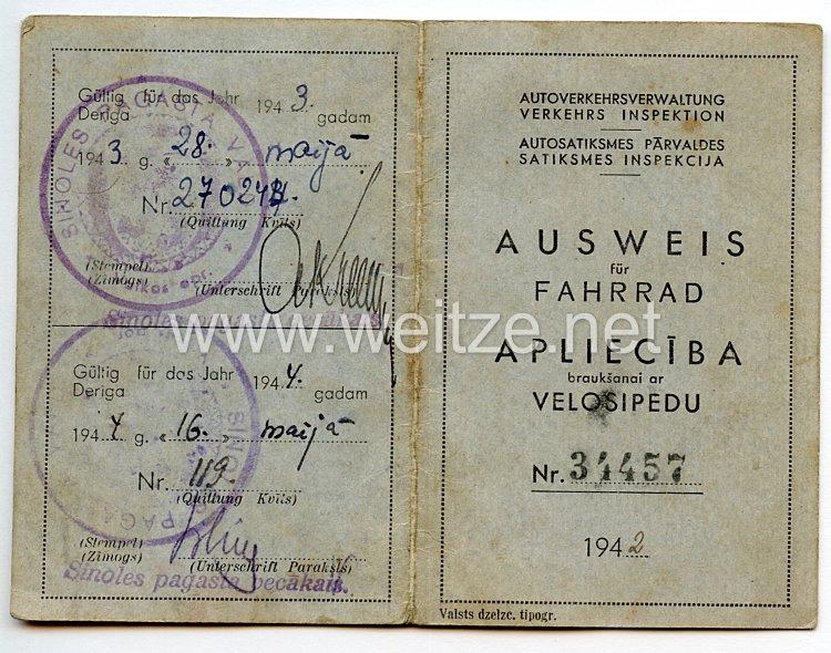 III. Reich / Lettland - Autoverkehrsverwaltung Verkehrs Inspektion - Ausweis für Fahrrad