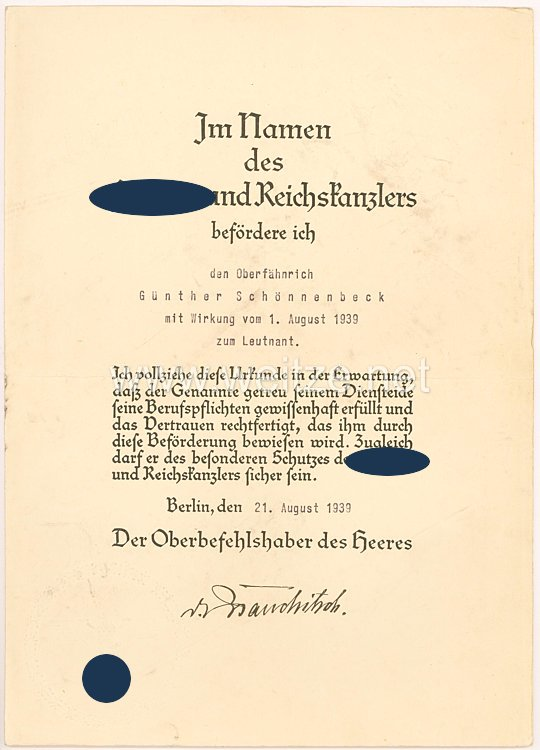 Heer - Ritterkreuzträger Generalfeldmarschall Walther von Brauchitsch - Faksimileunterschrift auf einer Beförderungsurkunde