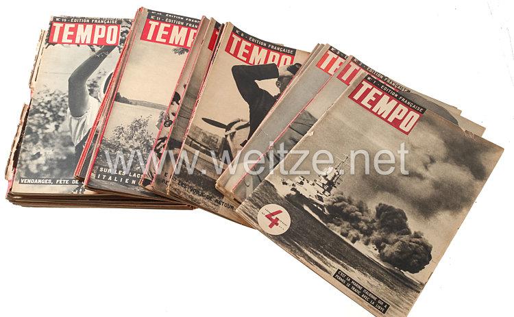 """III. Reich - Konvolut von 30 Heften der italienischen Zeitschrift """" Tempo """" als französische Ausgabe 1942-1943"""