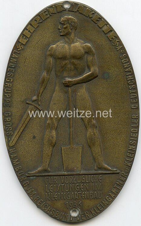 """""""Ehrenplakette Landesgruppe Gross-Hamburg im Reichsbund der Kleingärtneru. Kleinsiedler Deutschlands e.V. …"""