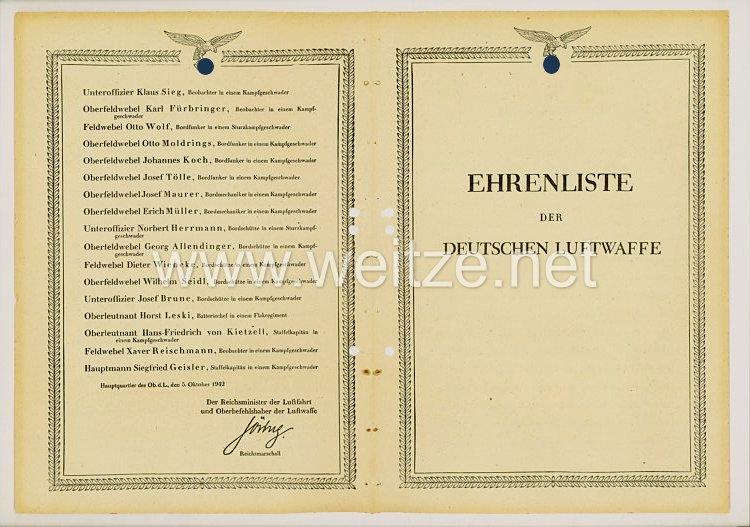 Ehrenliste der Deutschen Luftwaffe - Ausgabe vom 5. Oktober 1942
