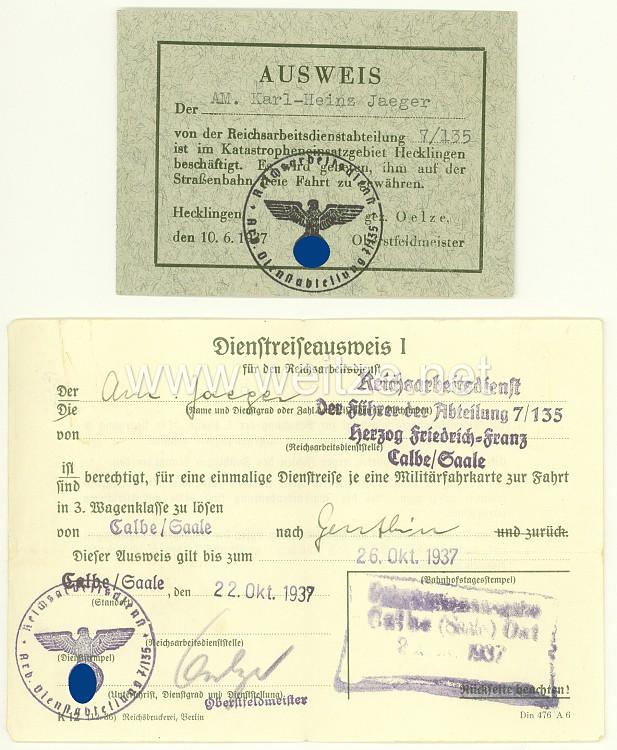 Reichsarbeitsdienst ( RAD )- 2 Ausweise für einen Arbeitsmann der Reichsarbeitsdienstabteilung 7/135