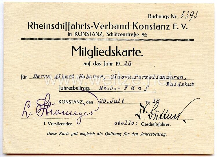 Deutsches Reich - Rheinschiffahrts-Verband Konstanz e.V. - Mitgliedskarte