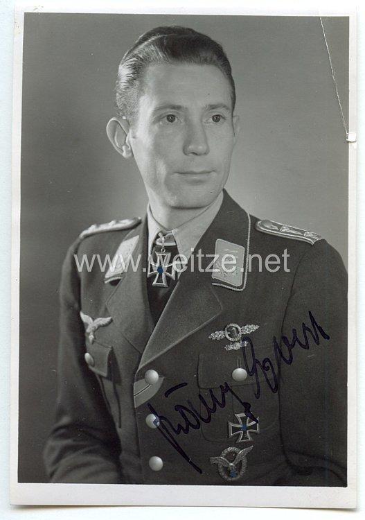 Luftwaffe - Originalunterschrift von Ritterkreuzträger Hauptmann Franz Evers