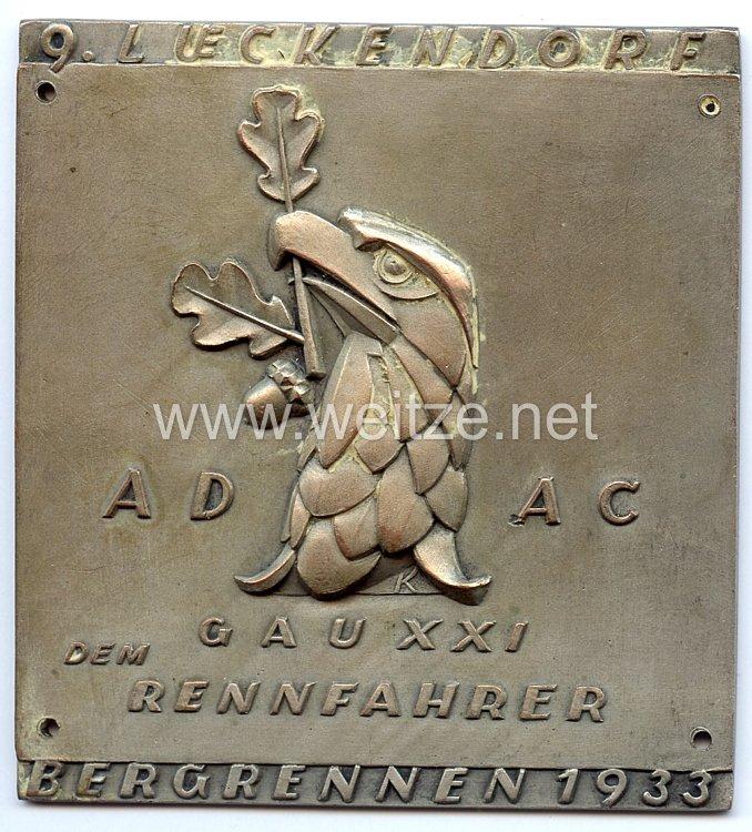 III. Reich - ADAC ( Allgemeiner Deutscher Automobil-Club ) - nichttragbare Teilnehmerplakette -