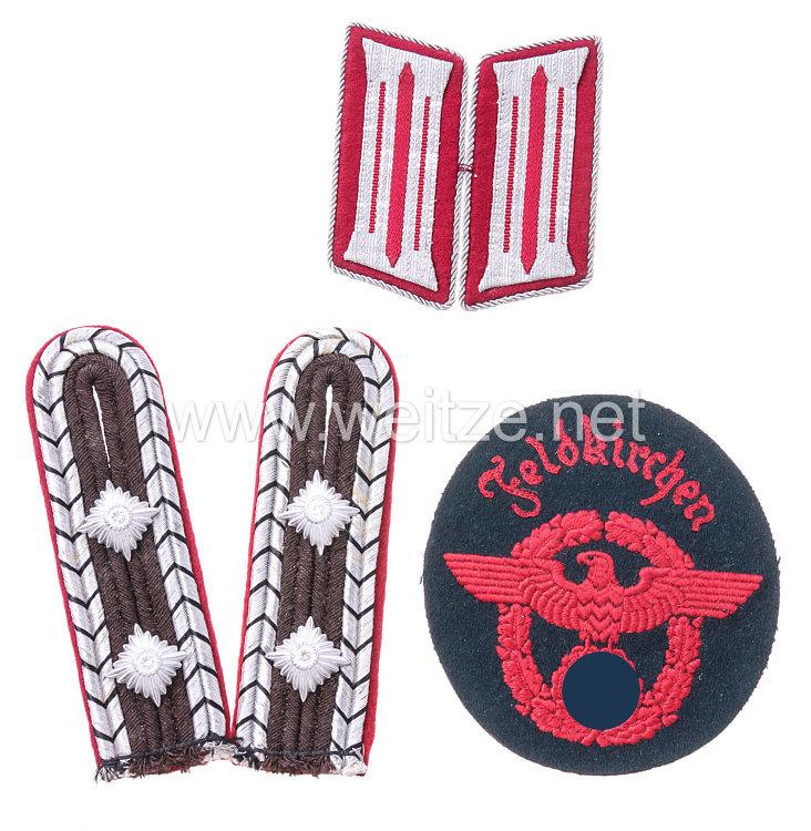 Polizei Paar Schulterstücke, Kragenspiegel und Ärmeladler für einen Hauptwachtmeister der Kommunalpolizei