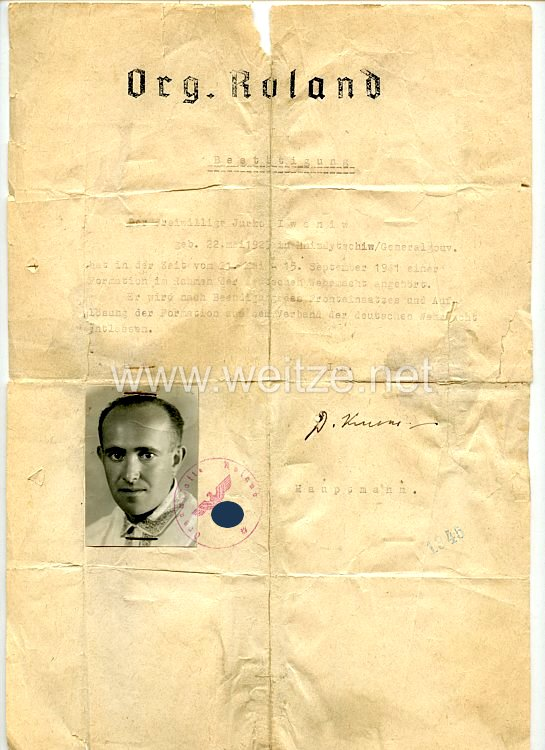 Organisation Roland - Bestätigung über die Angehörigkeit für einen Freiwilligen des Jahrgangs 1923 aus Hnizdytschiw/Generalgouvernement
